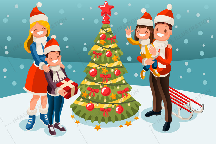 Christmas Tree At Winter Family Holidays Image Illustration