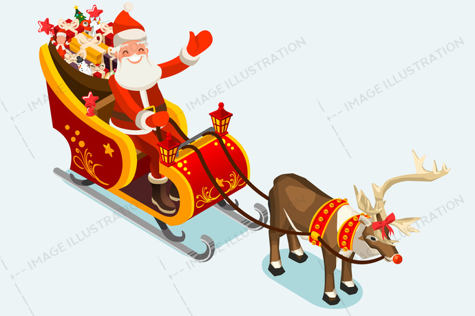 santa claus with children clip art