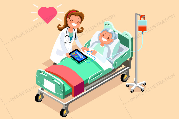 Doctor and Female Senior Patient Isometric People Vector