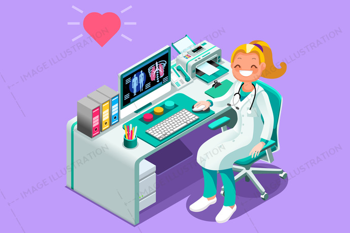 Doctor at Desk in Hospital Office Vector Isometric People