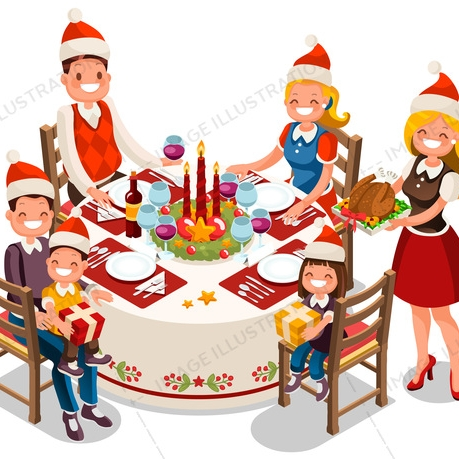 Family Holiday Dinner Party Illustration