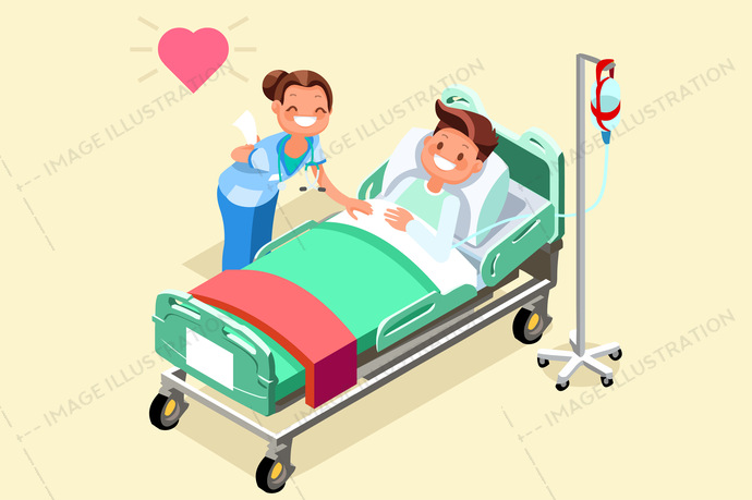 adult, awareness, bed, bedroom, campaign, care, cartoon, character, clinical, doctor, drip, dripper, emergency, equipment, exam, family, female, flat design, health, healthcare, home, Hospital, icon, ill, illness, illustration, image, indoor, isolated, isometric, lying, male, man, medical, medicine, nurse, patient, people, person, professionals, recovery, resting, ribbon cancer, room, sick, treatment, vector, ward, white, young