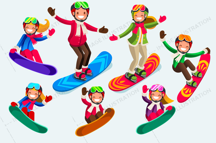 Icons Of Isolated Snowboard Jump Clip Art Image Illustration