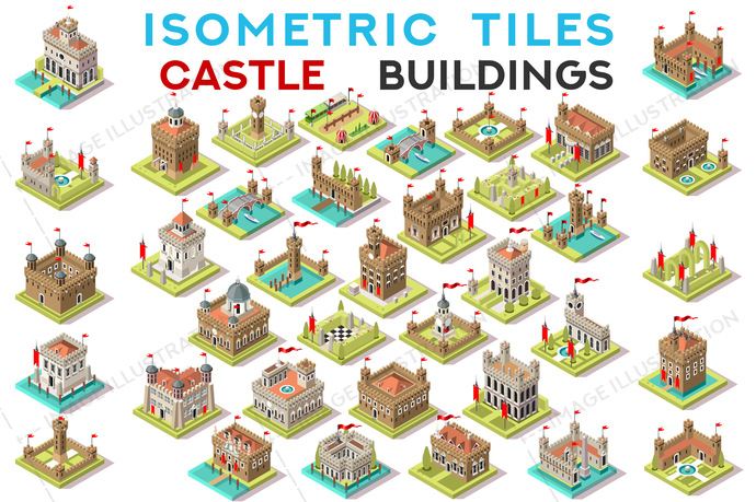 Isometric Tile Set Buildings Castle Game Icons