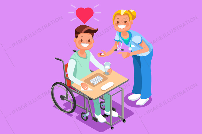 3d, boy, care, cartoon, character, consultation, disability, disabled, doctor, drug, female, flat design, group, handicap, health, Hospital, human, illustration, infographic, invalid, isometric, leg, male, man, medical, medication, nurse, paralyzed, patient, people, person, pill, policy, provider, rehabilitation, safety, seat, service, smile, social, staff, stethoscope, support, take, team, therapy, treatment, vector, wheelchair, young