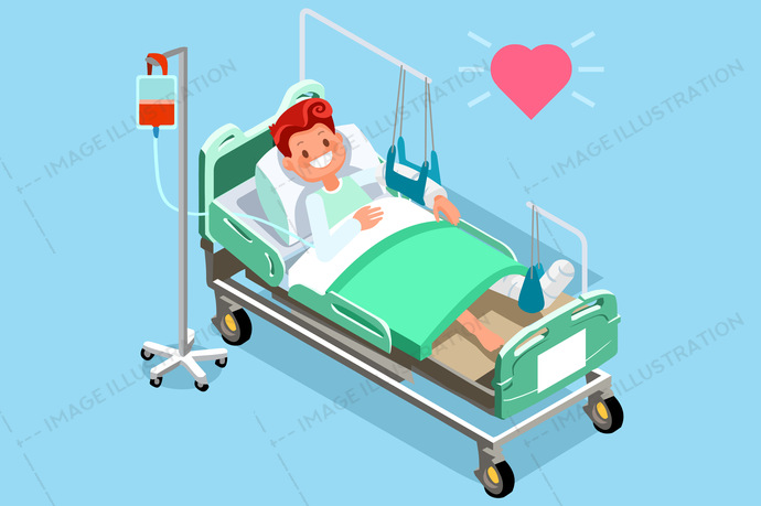 3d, accident, adult, aid, ankle, bandage, bed, bedroom, bone, broken, care, cartoon, cramp, disabled, emergency, flat design, foot, Fracture, gypsum, health, healthcare, Hospital, hurt, illness, injured, injury, insurance, isometric people, joint, knee, leg, limp, male, man, medical, medicine, orthopedic, pain, painful, patient, person, physical, plaster, recovery, rehabilitation, room, sprain, surgery, trauma, treatment
