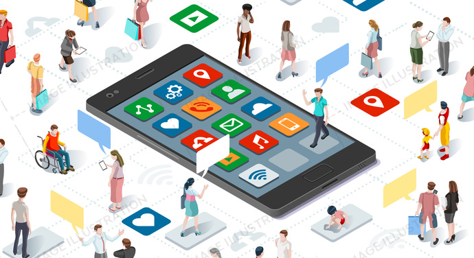People Connecting Smartphone Isometric Vector Infographic