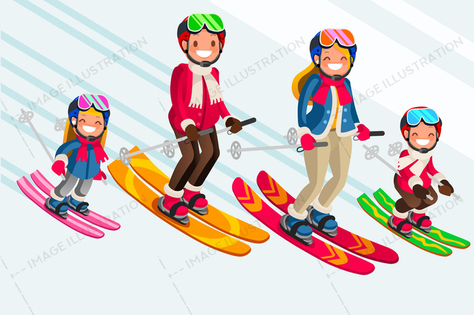 ff43c9116 Snow Skiing People Family Vector Set - Image Illustration
