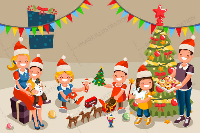 2018, 3d, book, boy, cartoon, celebrate, characters, cheerful, christmas, december, decorations, family, father, flat, fun, funny, gift, gingerbread, girl, happy, hat, holidays, home, house, illustration, isometric, kids, love, merry, mother, new year, night, parents, party, people, portrait, present, santa, season, snow, snowfall, son, together, traditional, tree, vacations, vector, window, winter, young