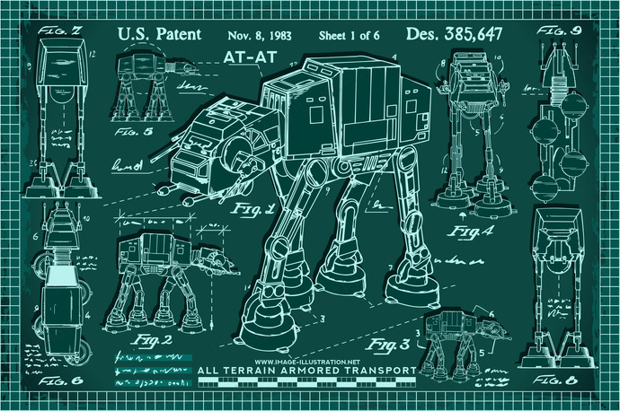 Star wars art AT-AT vector illustration in blueprint style.