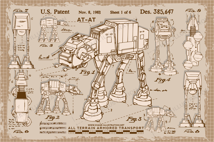 Star wars fan art. AT-AT vector illustration in retro sketches scroll style.