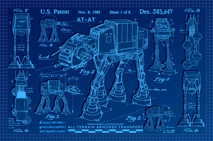Star Wars Poster blueprint AT-AT poster. Vector illustration in blueprint style.