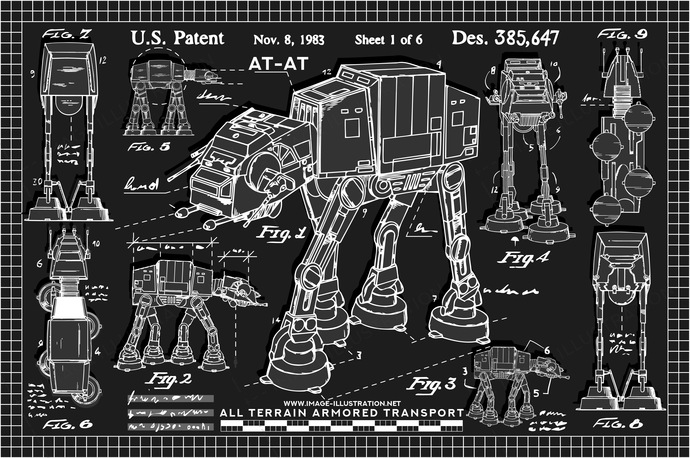 AT-AT star wars drawings. Vector illustration of white chalk drawings on blackboard.