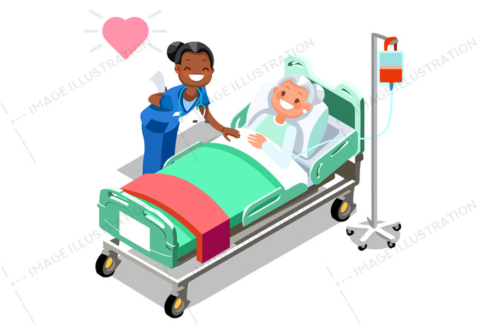 Funny Nurse And Female Elderly Patient In Bed Image