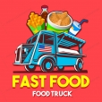 Food Truck Fast Food Restaurant Delivery Service Vector Logo