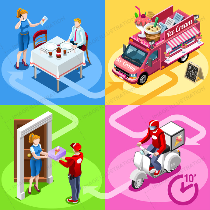 Ice Cream take away food truck and white car or van for fast home delivery vector infographic. Isometric people delivery man processing online order at the client customer door
