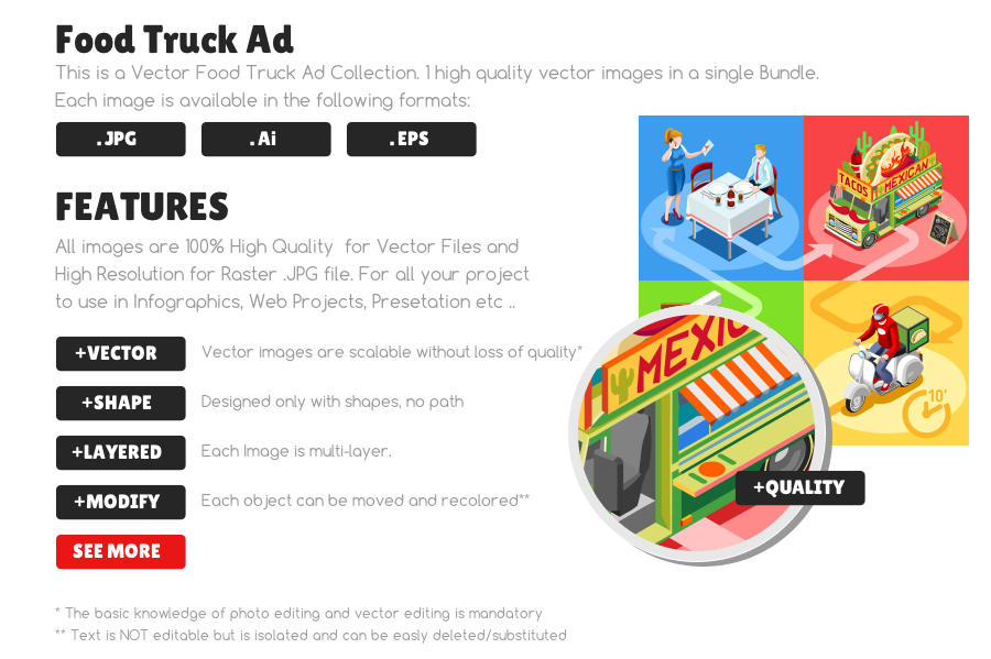Mexican take away food truck and white car or van for burrito fast home delivery vector infographic. Isometric people delivery man processing online order at the client customer door