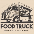 Food Truck Restaurant Delivery Service Vector Logo