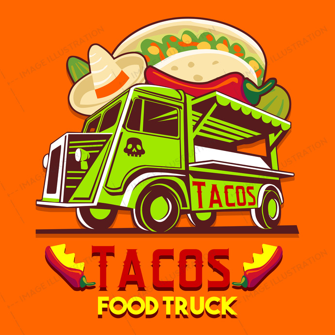 Food Truck Taco Mexican Fast Delivery Service Vector Logo