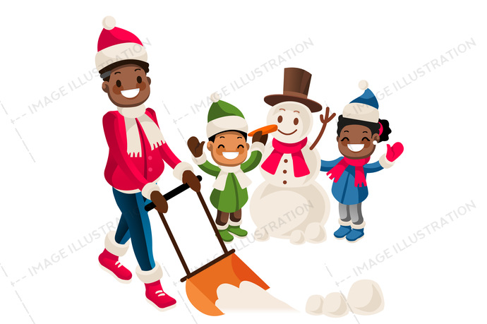 Young african-american man removing snow with a shovel in the yard while his children playing in the snow and making a snowman on snowy winter day. Vector isolated cartoon illustration.