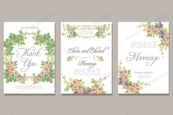 Set of card with vector flower rose leaves. Wedding ornament concept. Floral magazine or poster or invite. Vector layout decorative greeting card or invitation design background