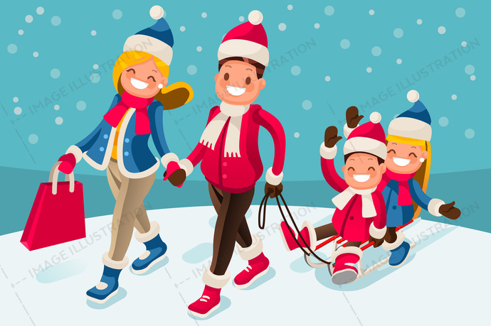 Christmas shopping holiday for winter family vacations smiling parents and children sled isometric people in isometric cartoon style vector illustration