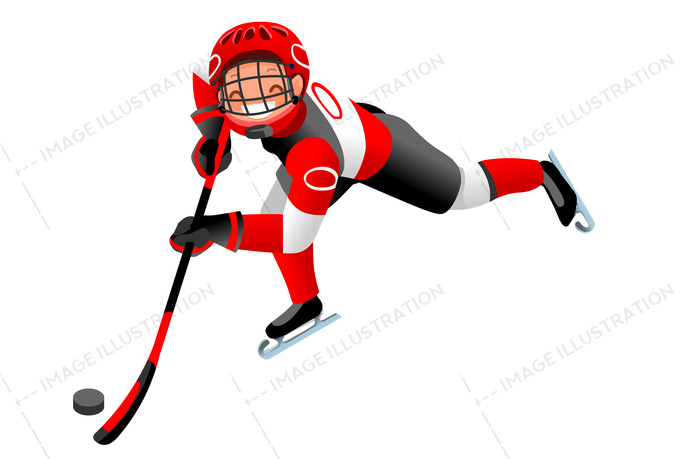 Ice hockey vector cartoon clipart. Winter sports background with hockey athlete playing winter olympics competition. 3d flat isolated isometric people illustration.