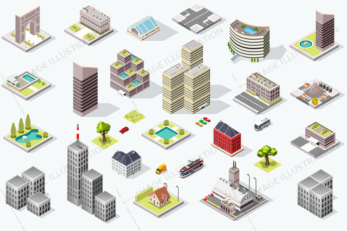 Set of isometric city buildings. Town district landscape with urban infrastructure streets and houses. 3d vector illustration.