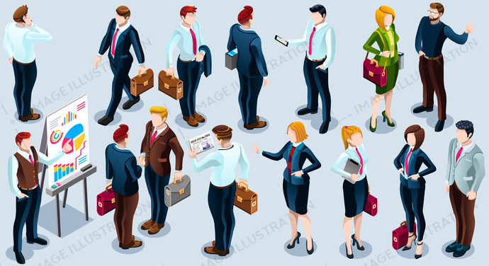3d, agreement, analysis, boss, business, businessman, businesswoman, career, collection, concept, conceptual, corporate, creative, deal, design, employee, female, financial, group, human, icon, illustration, infographic, isometric, isometry, Job, man, manager, meeting, office, partnership, people, professional, set, staff, standing, success, suit, team, teamwork, trendy, vector, web, woman, work, worker, young