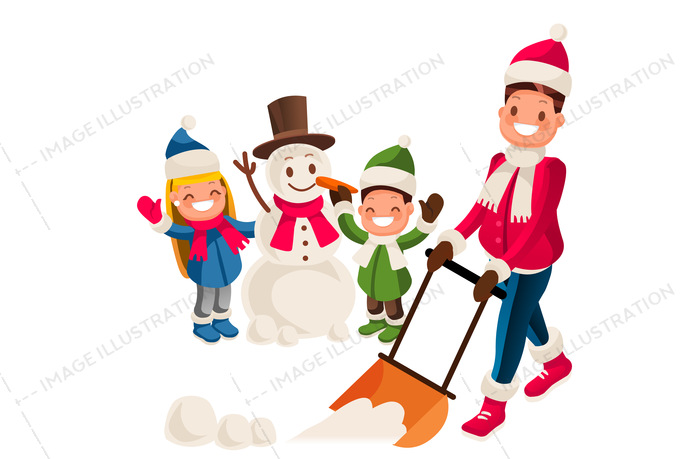 Young man removing snow with a shovel in the yard while his children playing in the snow and making a snowman on snowy winter day. Vector isolated cartoon illustration.