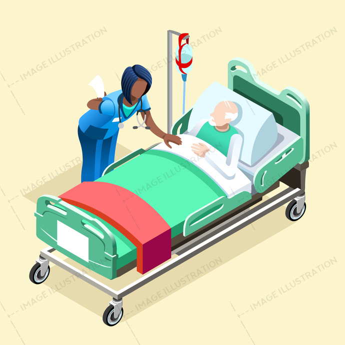 Medical infographic isometric people vector. Female black nurse and old patient
