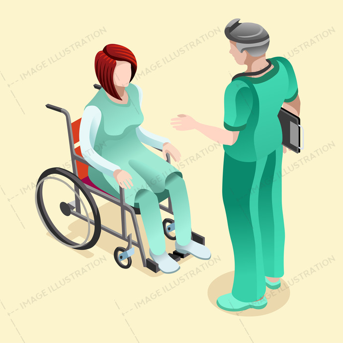 Clinical services male nurse or doctor talking to female patient sitting in wheelchair vector illustration design