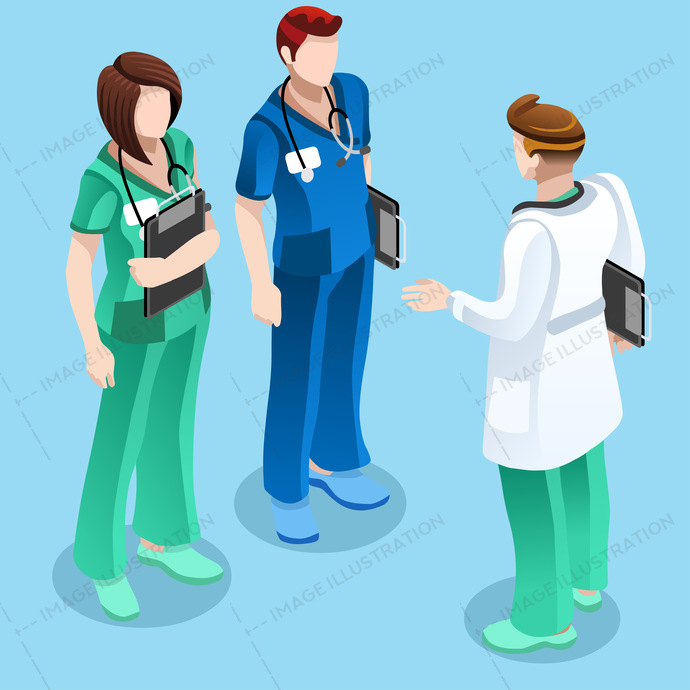 Medical assistant isometric people nurses talking with doctor vector illustration