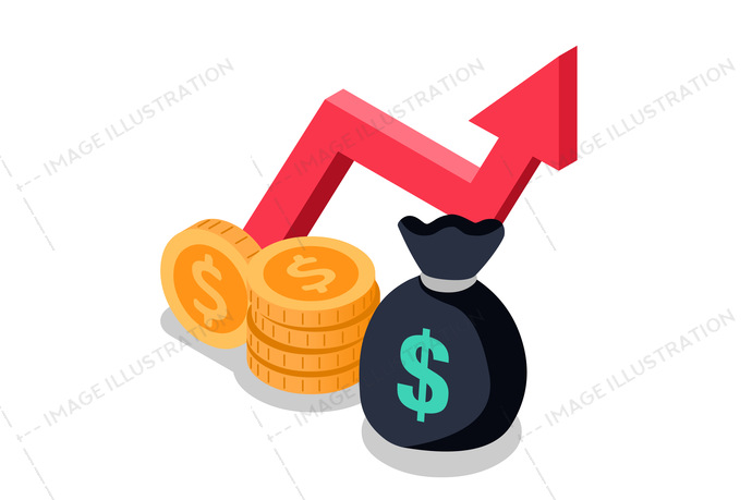 Mutual fund money icon. Financial performance statistic report for boost business productivity. Return on investment finance consolidation or budget planning. Income growth concept vector flat icon.