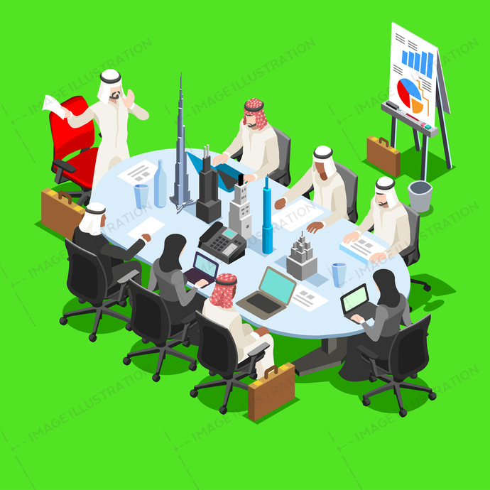 arab, arabia, arabian, arabic, bedouin, business, businessman, caliph, candora, commerce, corporate, desk, dhabi, dishdasha, finance, freelance, hacker, handshake, illustration, industry, international, islam, isolated, isometric, kaffiyeh, keffiyeh, kefiah, laptop, lobby, man, meeting, middle eastern, muslim, notebook, office, oil, partners, people, qatar, saudi, sheik, sitting, success, talking, technology, trade, traditional, vector, web