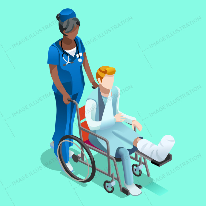 Medical staff isometric people senior black female nurse and patient in wheelchair vector design