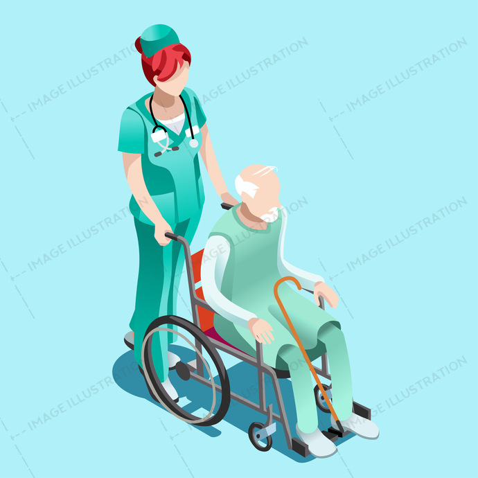 Healthcare professionals isometric people senior female nurse pushing elderly person patient in wheelchair.