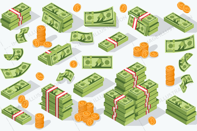 Money currency isometric icons. Vector illustration. Various money bills dollar cash paper bank notes and gold coins. Collection of cash heap pile and currency stack vector set.