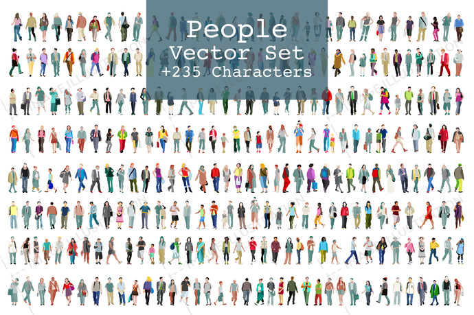 Vector set of illustrated people. More than two hundred icons