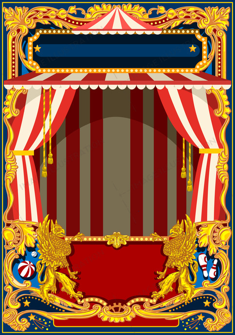 Carnival Poster with Circus Tent & Carnival Poster with Circus Tent - Image Illustration