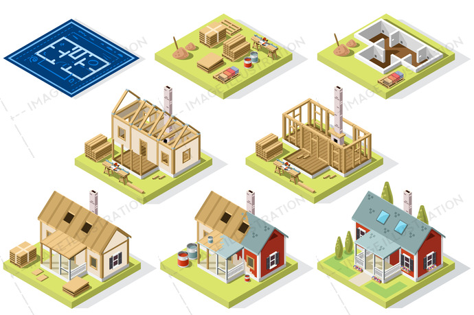 Brick wall and cement isometric building. Vector illustration.