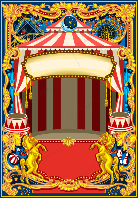 Circus Poster Vector Frame - Image Illustration