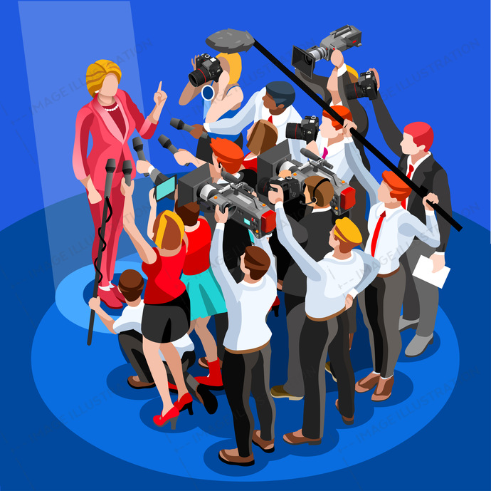 Election infographic. Debate party convention hall. Conference business meeting lecture. Congress theatre auditorium audience. Politic delegate competitors affiliates crowd rally. Vector isometric people