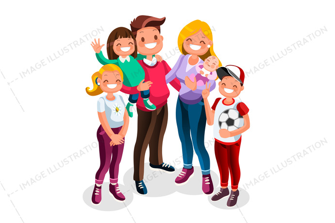 Family character people vector. Isometric character collection.