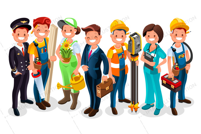 Labor day people cartoon. Vector worker group each person wearing job uniform of a specific profession or occupation. Different workmen and professional employers cartoon characters. Vector people flat illustration.