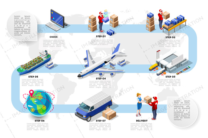 Logistics vehicle freight. Commerce and transport concept. Vector illustration. 3d isometric plane ship and truck for good delivery.