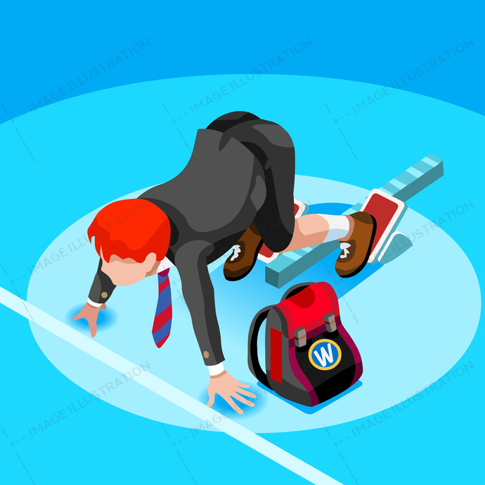 Kid student school college university admission open. Student people running race. 3d isometric person icon set. Creative design vector illustration collection