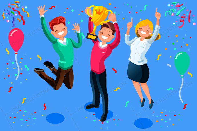 Win achievement. Happy company employee awarding a trophy prize to their leader. Business vector illustration.