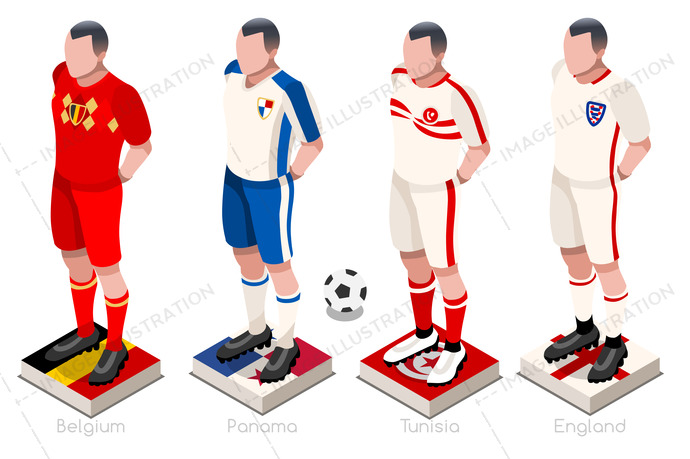Soccer world cup a group of players with team shirts flags and ball.  Isometric football 3b8680b29