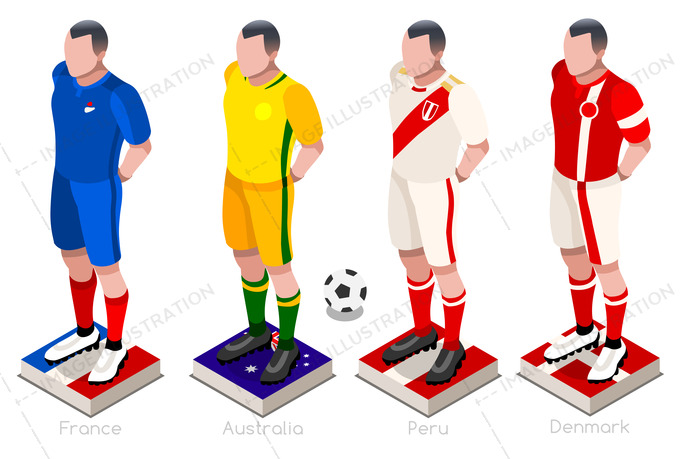 Soccer world cup a group of players with team shirts flags and ball. Isometric football vector illustration.